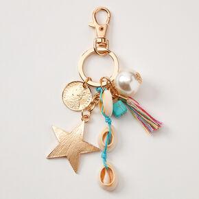 Porte-clés étoile coquillage - Turquoise,