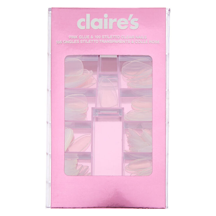 Glue On Stiletto Faux Nail Set - Clear, 100 Pack,