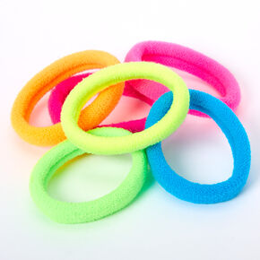 Neon Rainbow Plush Hair Bobbles - 6 Pack,