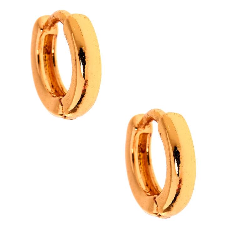 Gold 10MM Huggie Hoop Earrings,