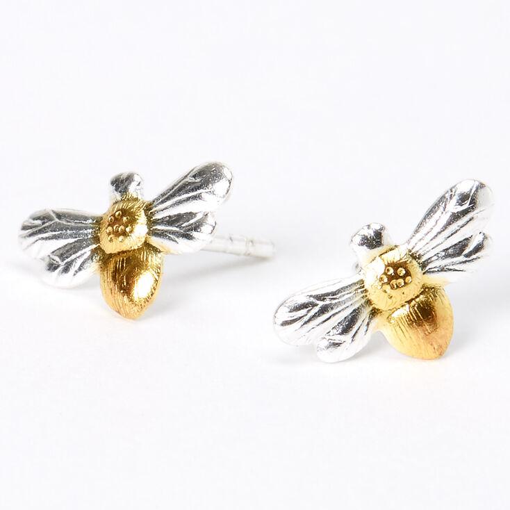 Sterling Silver Mixed Metal Bee Stud Earrings,