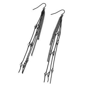 "Black 4.5"" Beaded Chain Link Drop Earrings,"