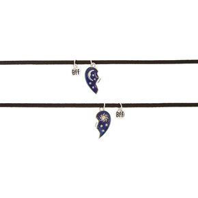 Best Friends Celestial Heart Mood Pendant Choker Necklaces - 2 Pack,