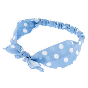 Polka Dot Knotted Bow Headwrap - Blue,