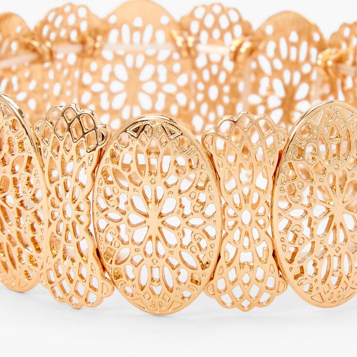 Gold Filigree Circle Stretch Bracelet,