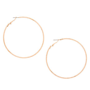 Rose Gold 70MM Laser Cut Hoop Earrings,