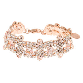 Rose Gold Rhinestone Infinity Chain Bracelet,