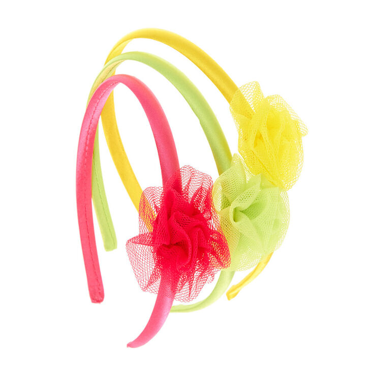 bf1c08add8ac Kids 3 Pack Neon Mesh Flower Headbands