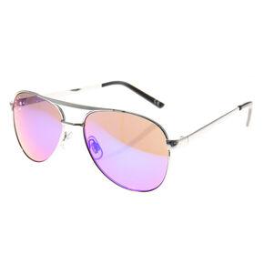 Claire's Club Glitter Aviator Sunglasses - Silver,