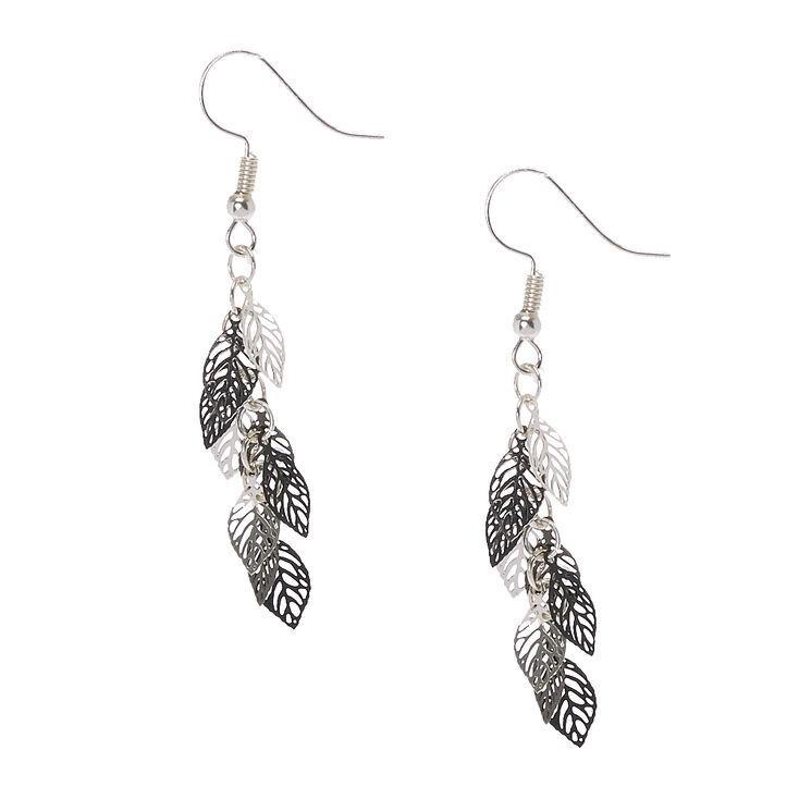 Mixed Metal Cut-out Leaves Drop Earrings,