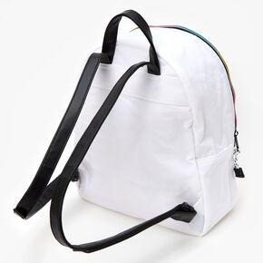 Sac à dos midi en nylon avec fermeture zip arc-en-ciel - Blanc,