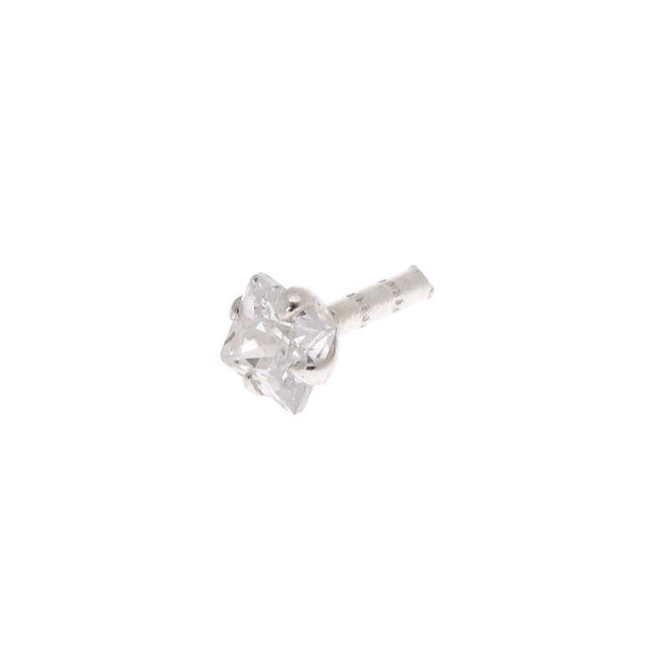 Silver 16G Stone Tragus Stud Earring,
