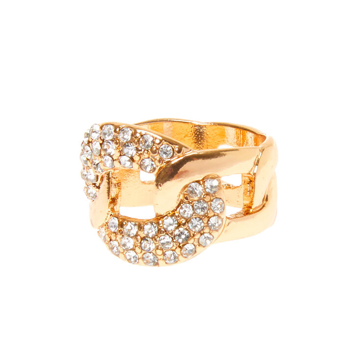 Gold Embellished Chain Link Ring,