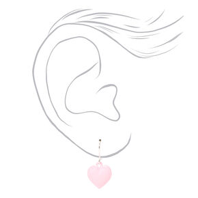 """Silver 0.5"""" Heart Drop Earrings - Pink,"""