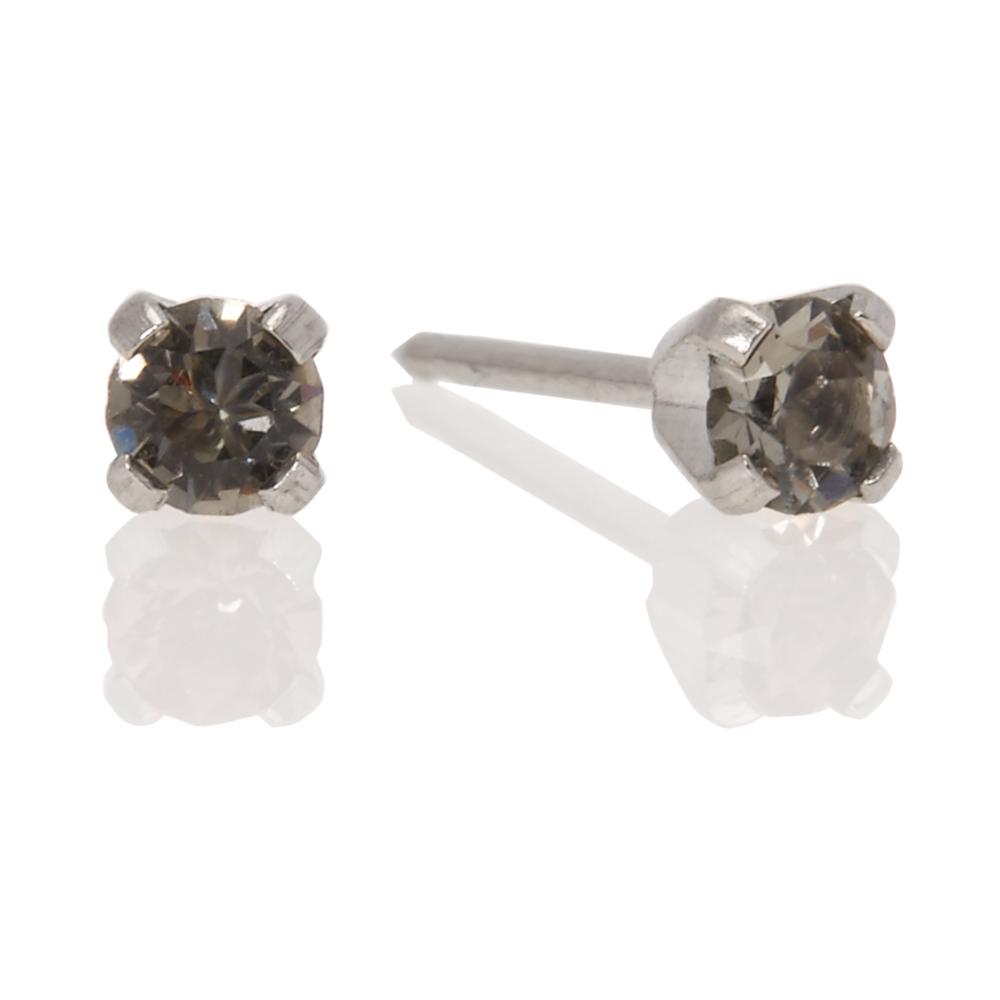 Stainless Steel Black Diamond 3mm Crystal
