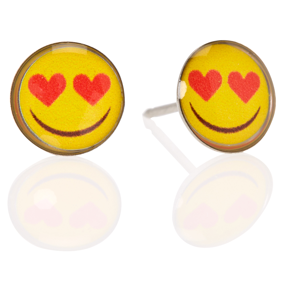 218a6a48a Heart Shaped Eyes Emoji With Stainless Steel Post