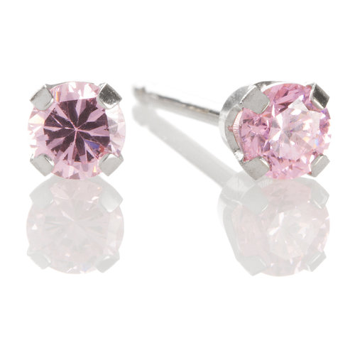 14kt White Gold 3mm October Pink