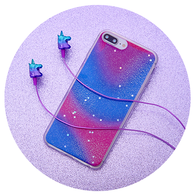 04df84f1e48 image of holographic tech phone case and unicorn earbuds