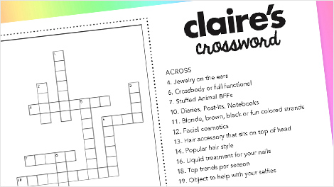 Claire's Word Games Printable