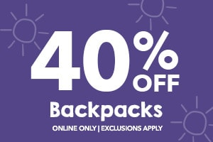 40% off backpacks.Online only. Exclusions apply