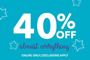 40% off almost everything.Online only. Exclusions apply